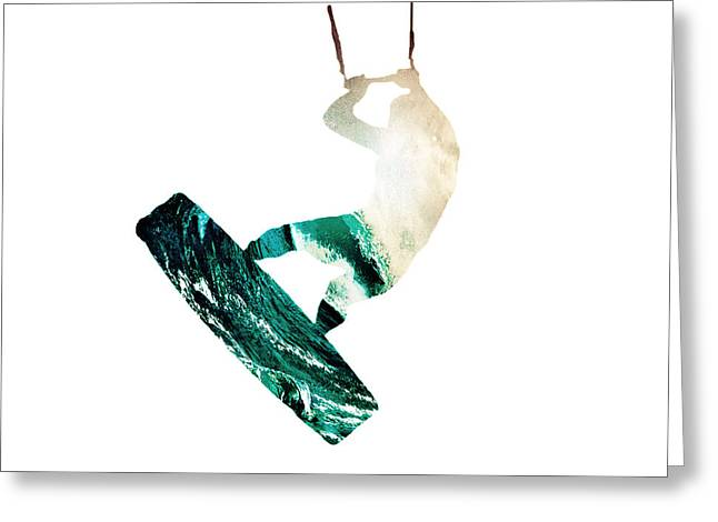 Wind Surfing Art Print Greeting Cards - Lily Winds KiteSurfing White Dream Greeting Card by Lily Winds
