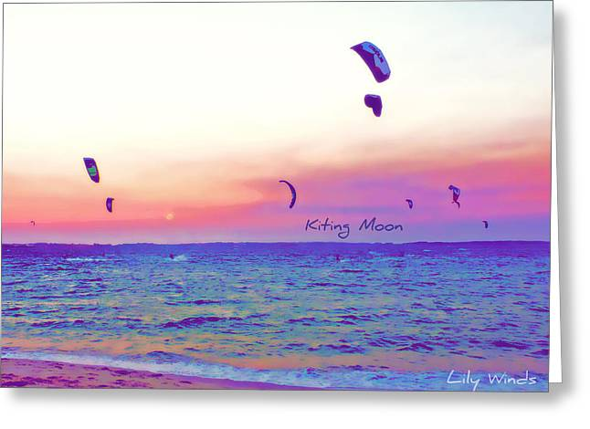 Kiteboarding Greeting Cards - Lily Winds Kiting Moon Blue Greeting Card by Lily Winds