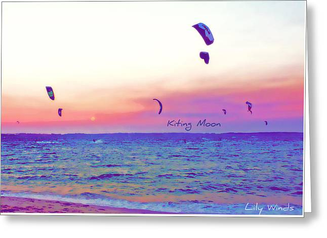 Wind Surfing Art Print Greeting Cards - Lily Winds Kiting Moon Blue Greeting Card by Lily Winds