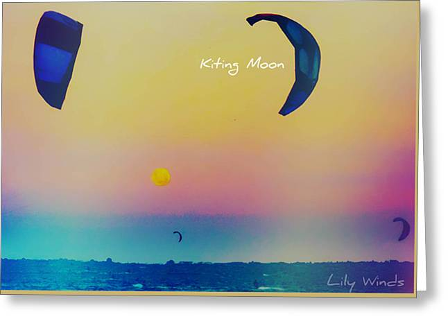 Lily Winds Kiting Moon Orange Greeting Card by Lily Winds