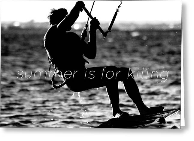 Wind Surfing Art Print Greeting Cards - Lily Winds Summer Kiting BW Greeting Card by Lily Winds