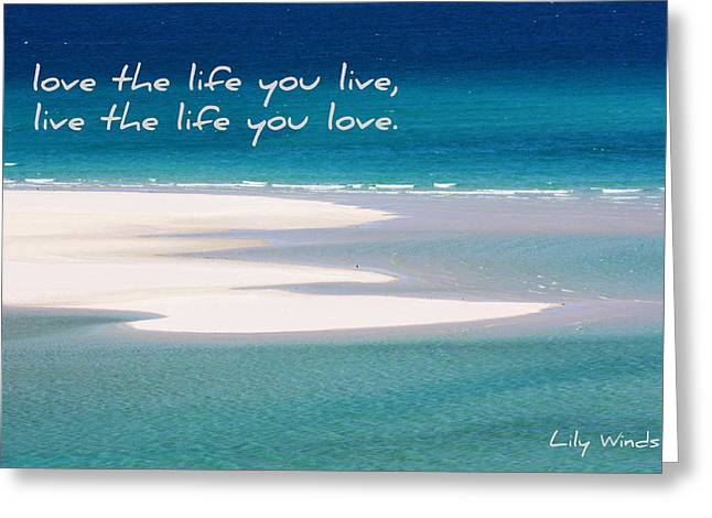 Bob Marley Artwork Greeting Cards - Lily Winds Whitehaven Beach Greeting Card by Lily Winds