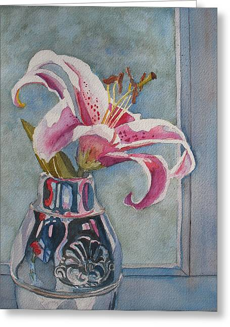Stargazer Greeting Cards - Lily with Carnations Greeting Card by Jenny Armitage
