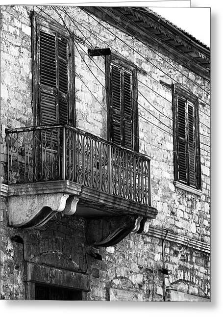 Cypriotic Greeting Cards - Limassol Balcony Greeting Card by John Rizzuto