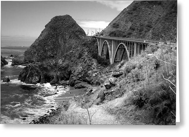 California Ocean Photography Greeting Cards - Lime Creek Bridge Highway 1 Big Sur CA B And W Greeting Card by Joyce Dickens