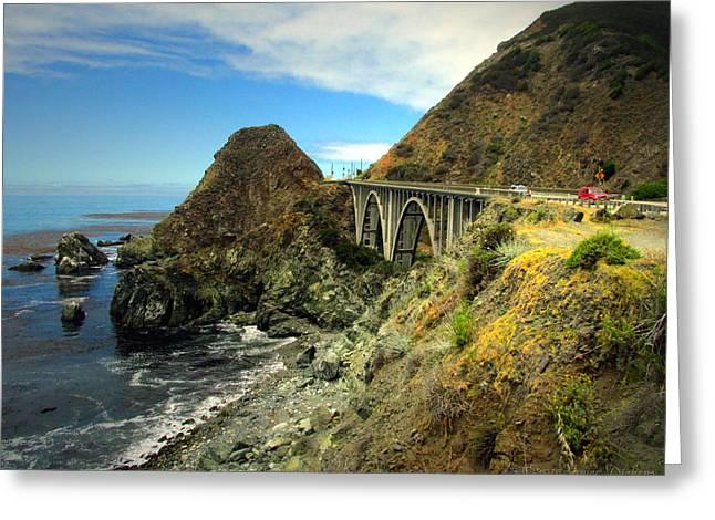 Big Sur California Greeting Cards - Lime Creek Bridge Highway 1 Big Sur CA Three Greeting Card by Joyce Dickens