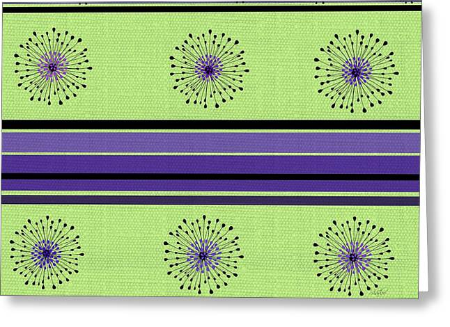 Striped Tapestries - Textiles Greeting Cards - Lime Green and Purple Abstract Greeting Card by Sharon Johnston