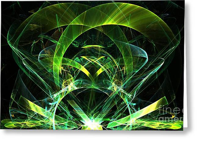 Gold Lime Green Digital Greeting Cards - Lime Jewel Greeting Card by Kim Sy Ok