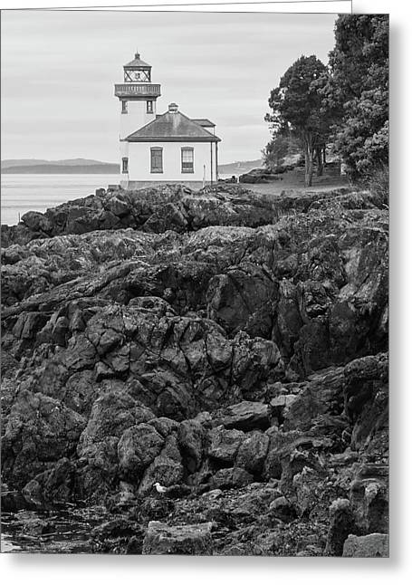 Lime Kiln Light Black And White Greeting Card by Dan Sproul