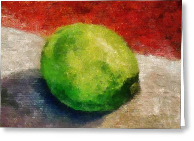 Sour Digital Art Greeting Cards - Lime Still Life Greeting Card by Michelle Calkins