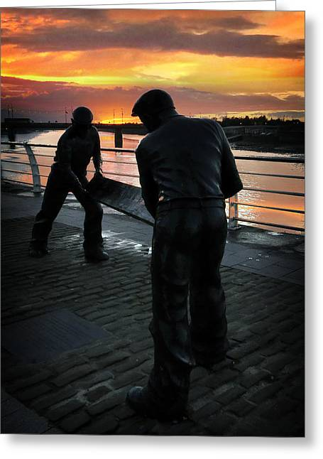 Working Conditions Greeting Cards - Limerick Dockers Greeting Card by Dominick Moloney