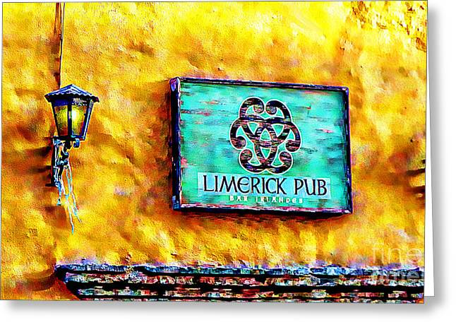 Bar San Miguel Greeting Cards - Limerick Pub Greeting Card by John  Kolenberg