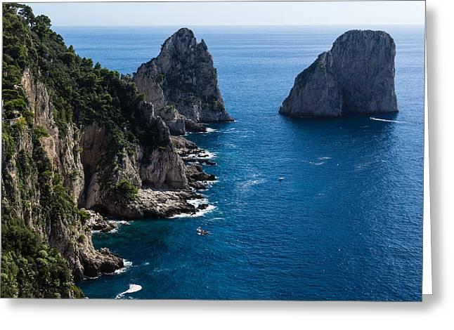 Blue Green Wave Greeting Cards - Limestone Cliffs and Seastacks - a Capri Island Vacation Greeting Card by Georgia Mizuleva