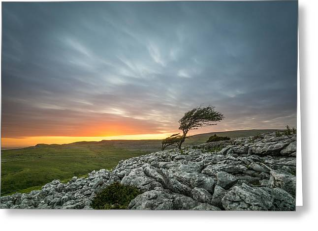 Limestone Sunset - Twistleton Scar, North Yorkshire, Uk. Greeting Card by Daniel Kay