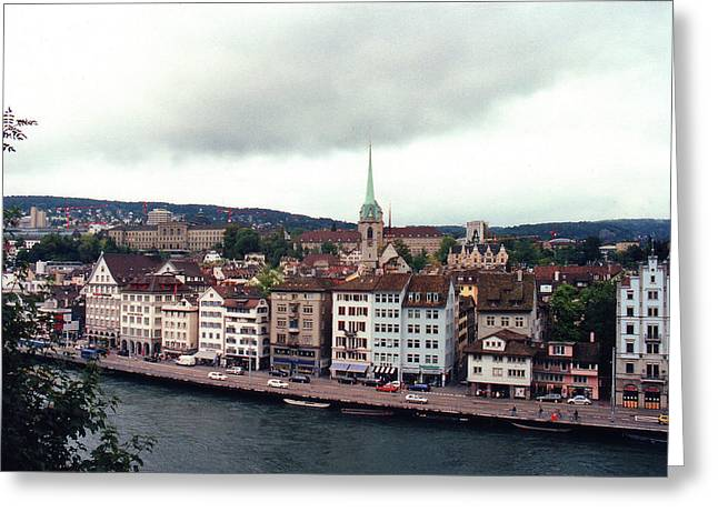 Touristy Greeting Cards - Limmatquai in Zurich Switzerland Greeting Card by Susanne Van Hulst