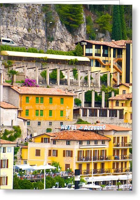 Swans... Greeting Cards - Limone sur Garda Greeting Card by Dave Byrne