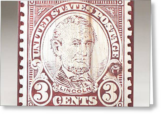 United States Reliefs Greeting Cards - Lincoln 3 Cent Stamp Greeting Card by James Neill