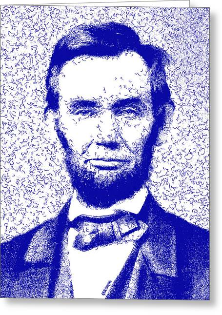 Lincoln Abstract Blue Greeting Card by Greg Collins