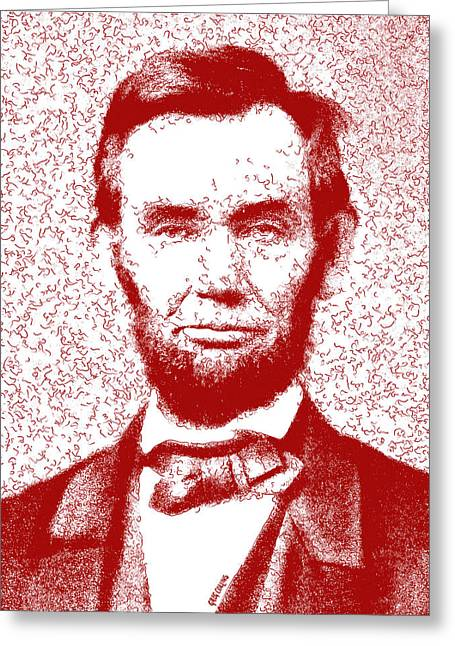 Lincoln Abstract Red Greeting Card by Greg Collins