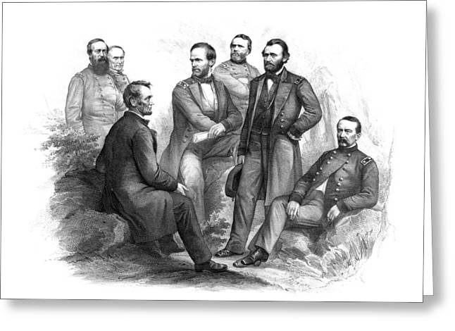 American Civil War Drawings Greeting Cards - Lincoln and His Generals Black and White Greeting Card by War Is Hell Store