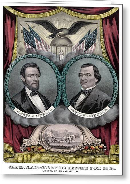 American Civil War Drawings Greeting Cards - Lincoln and Johnson Election Banner 1864 Greeting Card by War Is Hell Store