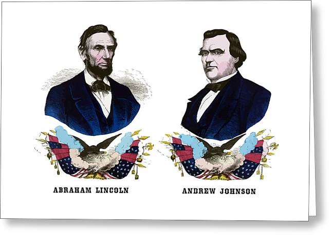 Abraham Lincoln Mixed Media Greeting Cards - Lincoln and Johnson Campaign Poster Greeting Card by War Is Hell Store