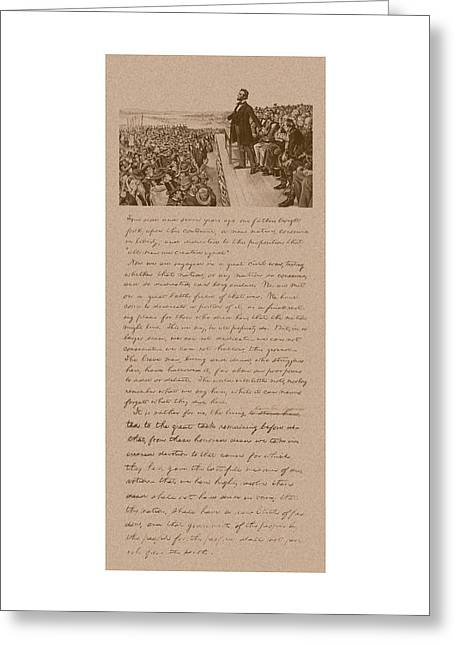 Rails Greeting Cards - Lincoln and The Gettysburg Address Greeting Card by War Is Hell Store
