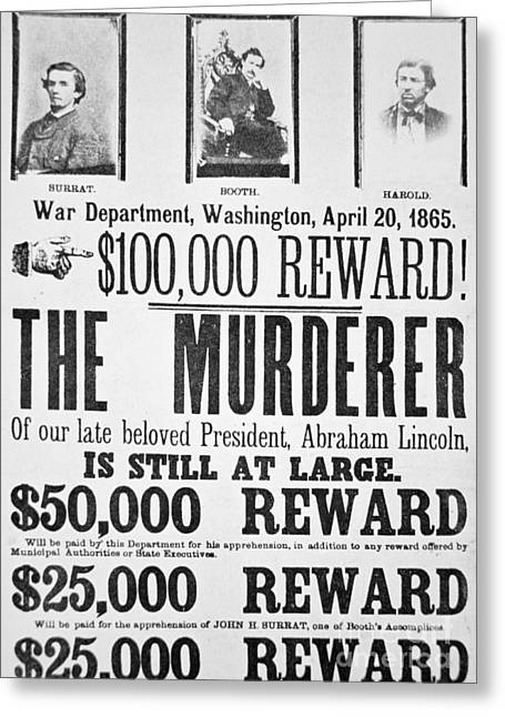 Lincoln Assassination Wanted Poster Greeting Card by American School