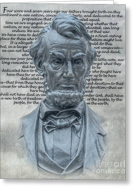 Lincoln Bust And Gettysburg Address Greeting Card by Randy Steele
