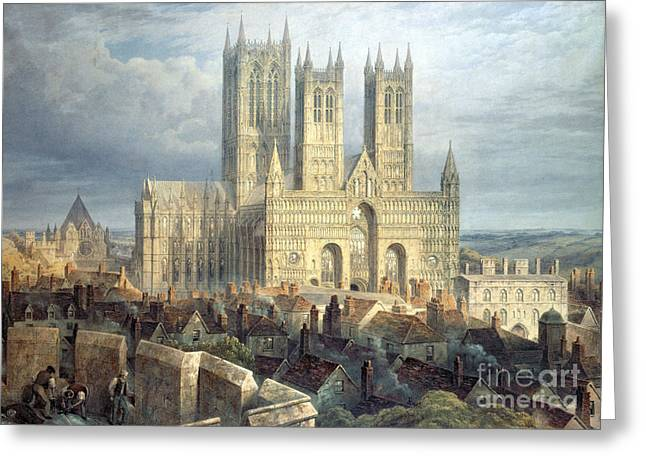 Earthquake Greeting Cards - Lincoln Cathedral from the North West Greeting Card by Frederick Mackenzie