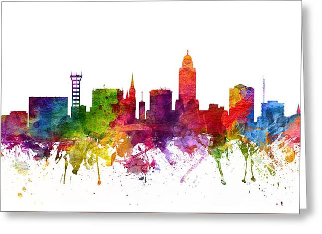 Color Lincoln Greeting Cards - Lincoln Cityscape 06 Greeting Card by Aged Pixel