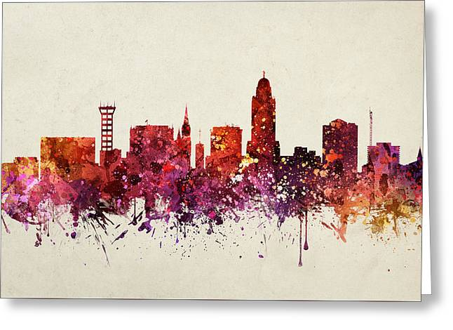Color Lincoln Greeting Cards - Lincoln Cityscape 09 Greeting Card by Aged Pixel