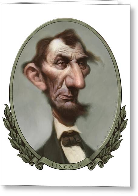 Caricature Portraits Greeting Cards - Lincoln Greeting Card by Court Jones
