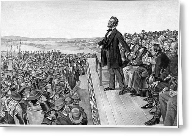 Rails Greeting Cards - Lincoln Delivering The Gettysburg Address Greeting Card by War Is Hell Store