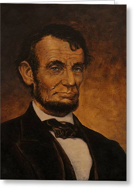 Abe Lincoln Paintings Greeting Cards - Lincoln Greeting Card by Jeremy Doss