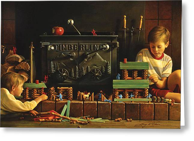 Fire Wood Greeting Cards - Lincoln Logs Greeting Card by Greg Olsen