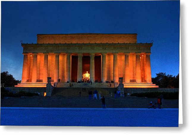 Lincoln Memorial By Night Greeting Card by Brian Governale
