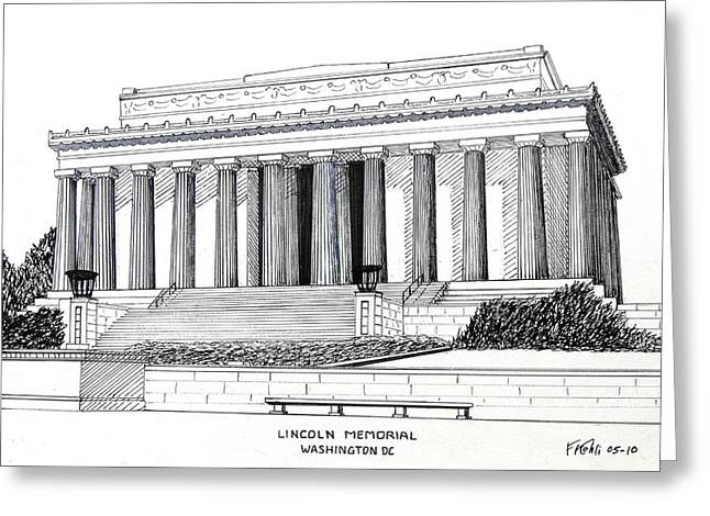 Best Sellers -  - Pen And Ink Drawing Greeting Cards - Lincoln Memorial  Greeting Card by Frederic Kohli