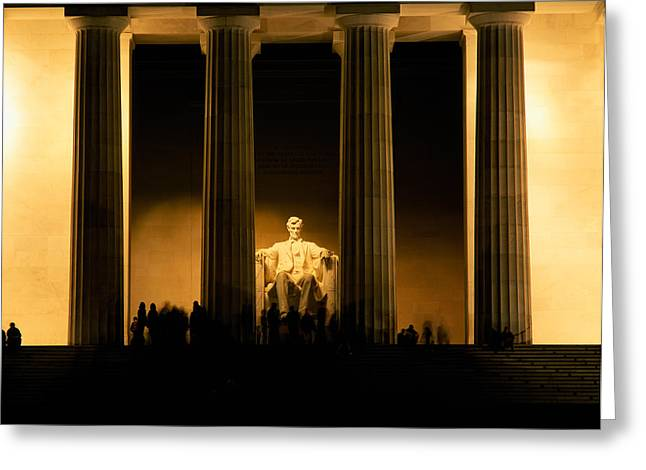 Abraham Lincoln Images Greeting Cards - Lincoln Memorial Illuminated At Night Greeting Card by Panoramic Images