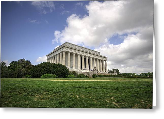 Historic Statue Greeting Cards - Lincoln Memorial Outside View Greeting Card by Daniel Portalatin