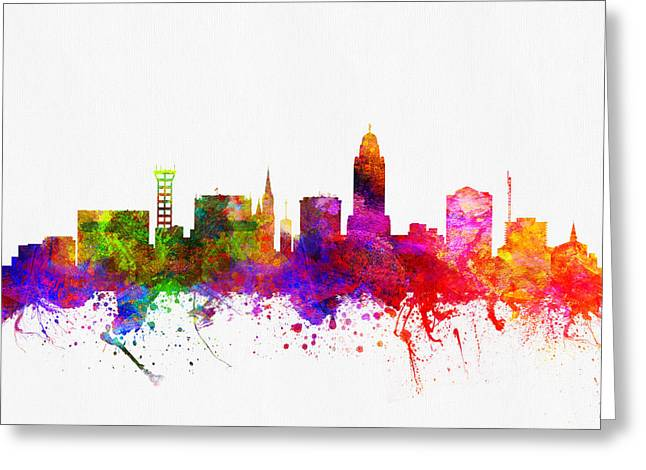 Lincoln City Greeting Cards - Lincoln Nebraska skyline color02 Greeting Card by Aged Pixel