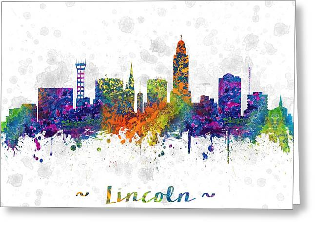 Lincoln City Greeting Cards - Lincoln Nebraska Skyline color 03SQ Greeting Card by Aged Pixel