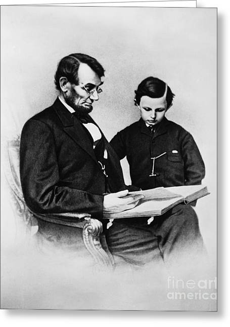 Thirteenth Amendment Greeting Cards - Lincoln Reading To His Son Greeting Card by Photo Researchers