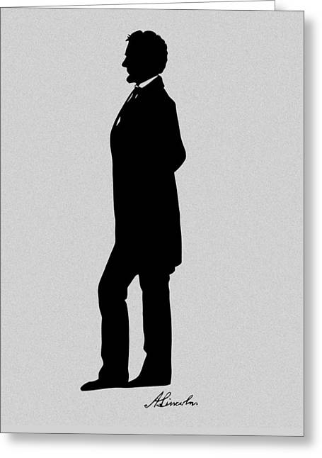 Proclamation Mixed Media Greeting Cards - Lincoln Silhouette and Signature Greeting Card by War Is Hell Store