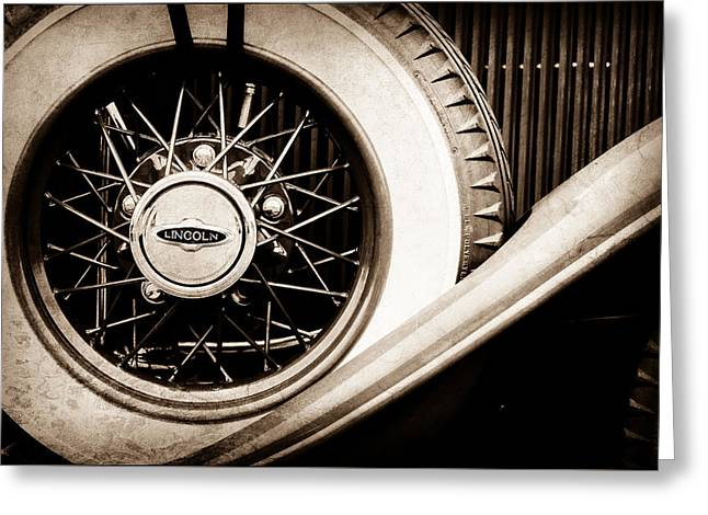 Lincoln Spare Tire Emblem -1842s Greeting Card by Jill Reger