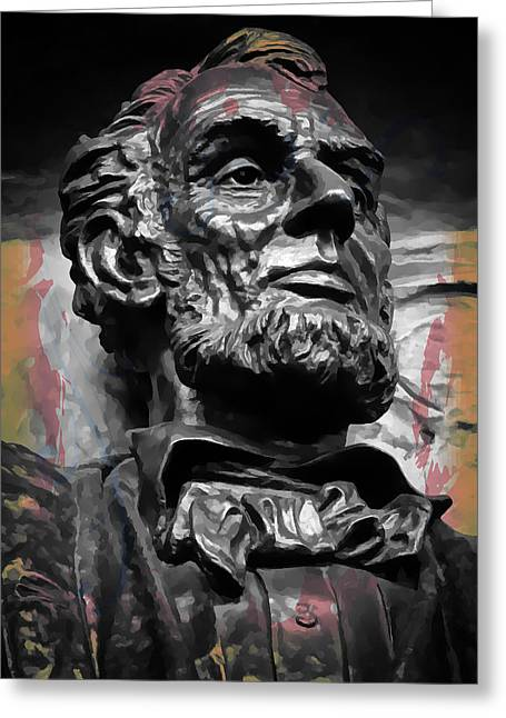 Confederate Flag Greeting Cards - Lincoln Stoic Greeting Card by Daniel Hagerman