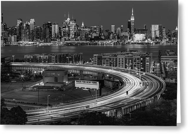 Empire State Greeting Cards - Lincoln Tunnel Helix and NYC Skyline BW Greeting Card by Susan Candelario