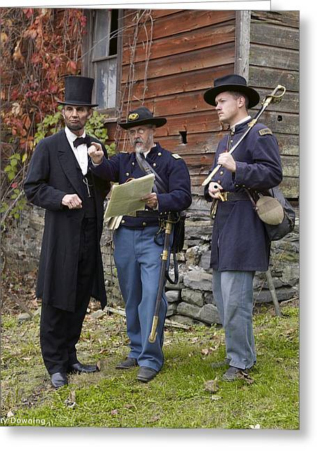 Lincoln With Officers 2 Greeting Card by Ray Downing