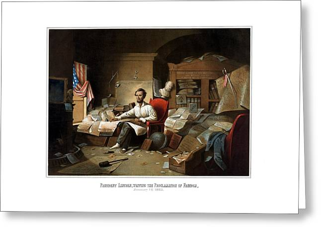 16th Greeting Cards - Lincoln Writing The Emancipation Proclamation Greeting Card by War Is Hell Store