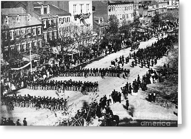 Thirteenth Amendment Greeting Cards - Lincolns Funeral Procession, 1865 Greeting Card by Photo Researchers, Inc.